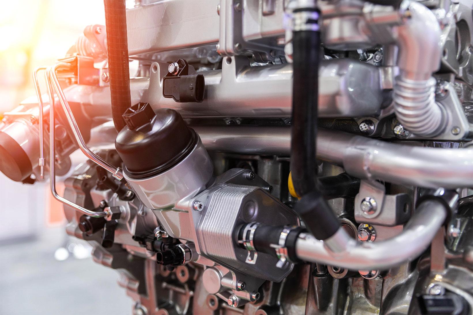 Closeup of car engine